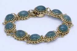 6.5 14k Solid Yellow Gold Twist Oval Cabochon Dark Green Jade Tennis Bracelet