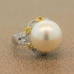 South Sea Pearl Diamond Two-tone 18k Yellow Gold And Platinum Ring 0.75ctw