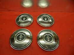4 Takeoff Used 68 Ford Mustang Black Crest Center 10 1/2 Hub Caps C8zz-1130-f