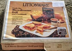 Vintage Littonware Family Size L-3 Micro Browner Grill Plus Cookbook New