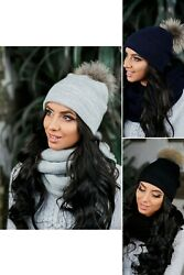 Beanie with pompom knit hat scarves for women hat and scarf set