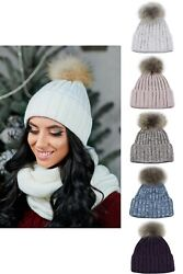 Knit hat beanie with pompomscarves for women knitted set
