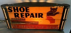 Rare Catand039s Paw Shoe Repair Advertising Lighted Sign- Working Light