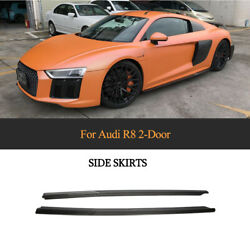 For Audi R8 2016-2018 Side Skirts Lip Extensions Protector 2PCS Carbon Fiber