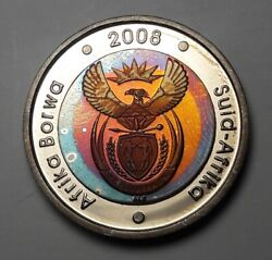 Gorgeous 2008 South Africa 5 Rand Borwa Unc Bu Proof Toned Color Dr