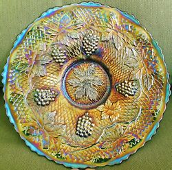 Spectacular Fenton Green Concord Grape Carnival Glass Plate...excellent