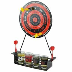 Mini Drinking Game Dart Shot Party Games Roulette Bar With 4 Glass Cups 1 Target