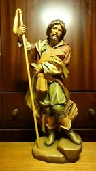 ✟✟ Vintage 13 Wooden Carved Patron Saint St Isidore The Farmer Statue Figure ✟✟