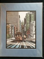 Mark Monsarrat San Francisco Trolley Cable Cars Print In Cellophane Hand Signed