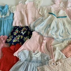 Vintage Baby Clothes Toddler Ruffles Dresses Bonnets Girl 1950'S