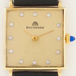 Bucherer 18k Gold Menand039s Hand-winding Watch W/ Diamond Dial And Leather Band