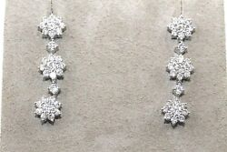 Round Diamond Flower Star Cluster Drop Ladyand039s Earrings 18k White Gold 1.62ct