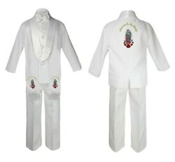 Baby Toddler Boy Communion Formal White Shawl Lapel Suit Gold Maria Stole Back