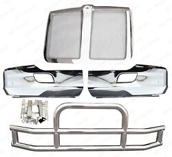QSC Chrome Bumper Pair + Stainless Steel Deer Guard + Grille for Kenworth T680