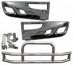 Qsc Chrome Bumper Corner Left And Right Pair + Deer Guard For Kenworth T660
