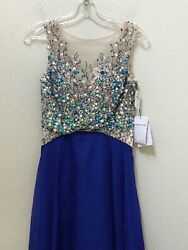 Gigi Designs Blue Sparkly Long Flowy Ball Gown Size 0 Neiman Marcus Prom Sheer