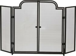 Dagan Three Fold Wrought Iron Arched Fireplace Screen With Doors, 55 X 32