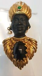 Authorized Askew London Reseller Blackamoor Figural Brooch/pin, With Crystals