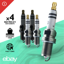 4pc New Oem 06h905611 Spark Plugs For Bosch Volkswagen / Audi 06h 905 611