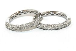Round Diamond Cluster 3 Row Pave Hoop Ladyand039s Earrings 14k White Gold .83ct