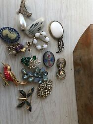 HIGH END VTG ESTATE JEWELRY RHINESTONE BROOCHPIN Antique Rhinestone Glitzy