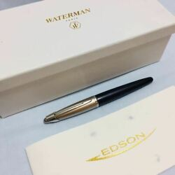 WATERMAN EDSON Fountain Pen Nib M 18 Gold Platinum Plate Diamond Black Pre-Owned