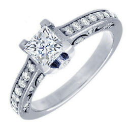 Gia Certified Diamond Engagement Ring 1.02 Ct Princess And Round 18k White Gold
