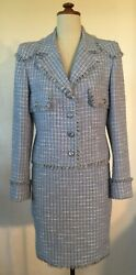 Authentic Boutique 98p Pale Blue Fantasy Tweed Suit. Immaculate Cond. S40