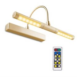 Picture Light Remote Control Led Battery Operated Gold Metal Wall Mount Cordless