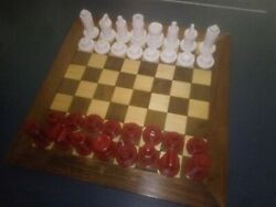 Chess Set / Pieces Custom Handcrafted Oneofakind Unique Red Verses White