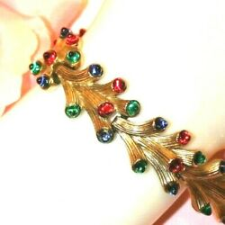 BEAUTIFUL CROWN TRIFARI SIGNED RARE JEWELED BRACELET EXCELLENT NO WEAR-WOW