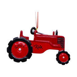 Personalized Red Farm Tractor 1st Christmas 2021 Holiday Ornament Keepsake