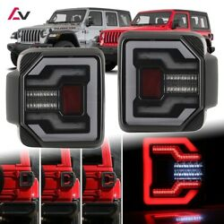2018+ Jeep Wrangler Jl Jlu Sport Rubicon Drl Led Sequential Tail Lights Smoke