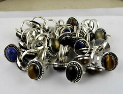 Green Turquoise And Mix Gemstone 925sterling Silver Adjustable Rings Wholesale Lot
