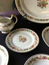 Rare Raynaud French Limoges Ryd13 China Ivory Floral Gold Trim C.1947