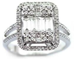 Large 1.08ct Diamond 18kt White Gold Round And Baguette Invisible Anniversary Ring