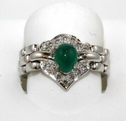 Platinum Oval Cabochon Emerald And Diamond Solitaire Flexible Ring 8.73ct