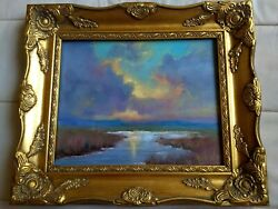 Cloudy Landscape With Beautiful Bold Colors 8x12 Gold Framed By Kordye Turner
