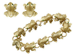 Vintage Italian 0.66ct Emerald and 18ct Yellow Gold 'Frog' Jewellery Set 1980s