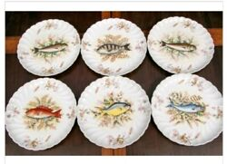 6 Marx And Gutherz Carlsbad Austria Antique Fish Plates 8 1/2 Handraised Paint