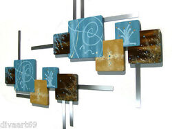 Turquoise And Brown Abstract Squares Wood W/ Metal Wall Hangings Sculpture Decor