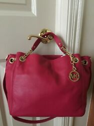 NWT Michael Kors Jet Set Medium Gathered Chain link Shoulder Tote Lacquer Pink
