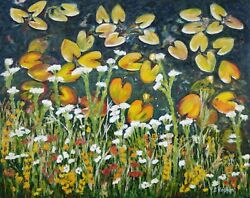 Flower Autumn Meadow Painting Field Fall Nature Wildflower Oil Picture Wall Art