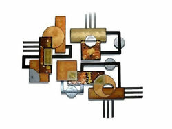 Huge 3 Pc Textured Geometric Abstract Wood And Metal Wall Sculpture Hangings 55x48