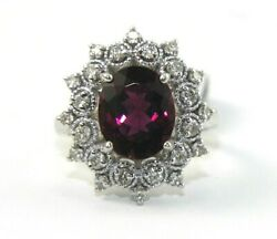 Oval Pink Tourmaline And Diamond Halo Solitaire Ring 14k White Gold 4.23ct