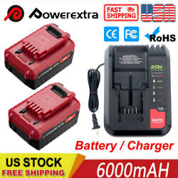 6.0ah Max 20v Li-ion Upgraded Battery / Charger For Porter Cable Pcc680l Pcc685l