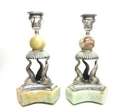 Vintage 925 Sterling Russian Silver Fish Candlesticks Jade Stone