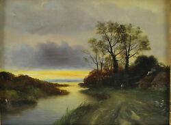 Rene Charles Edmond His French, 1877-1960 Oil On Board Landscape Painting