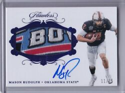 2018 Mason Rudolph Flawless Rpa Rookie Bowl Logo Patch Auto Sapphire D 11/15