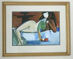 Jack Wilkinson Original Signed Watercolor Woman With Apples 1990 Framed